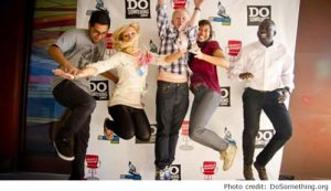 Young people jumping for joy